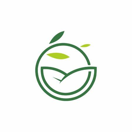 simple round fresh organic green leaf line icon inspiration for nature logo design idea Ilustração
