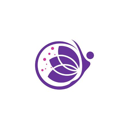 empower logo simple round blossom and woman figure illustration for wellness or design template Illustration