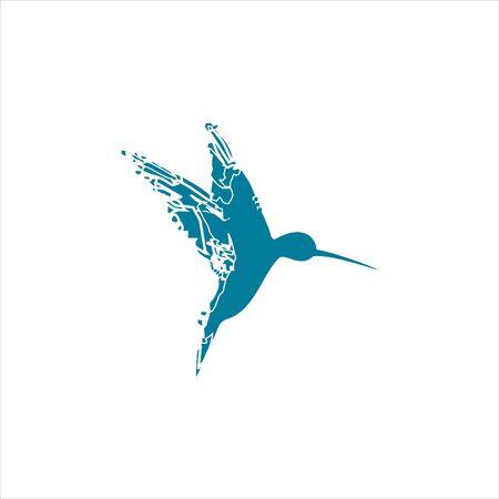 rustic humming bird logo illustration inspiration for digital companies icon design template