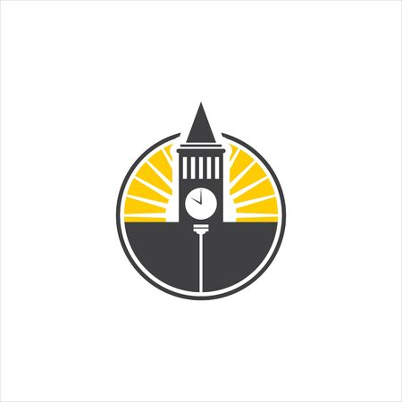 electric logo modern round bright yellow capital building icon illustration industry design template  イラスト・ベクター素材