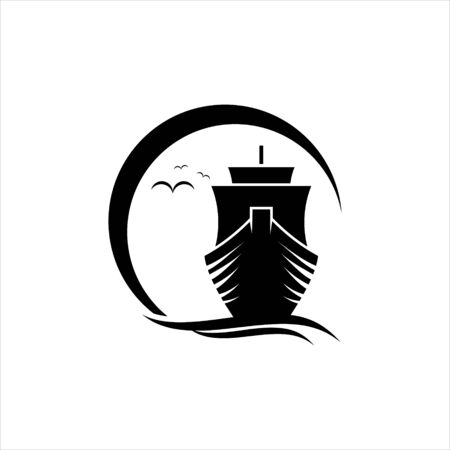 sailing logo modern fun sunshine with ship activity illustration of transportation or shipping design idea