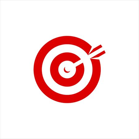 target logo flat red round business vector for icon inspiration or archery sport design template idea