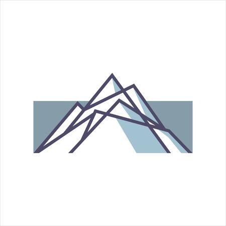 line mountain logo element simple fun ice blue illustration of nature design template Stock Illustratie