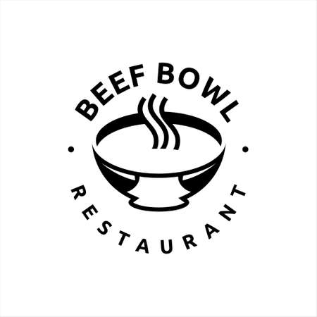 beef bowl logo healthy cuisine meat street food industry simple design template idea Ilustracja