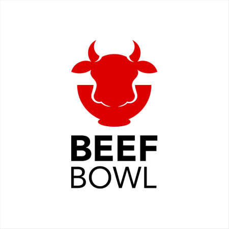 beef bowl logo healthy cuisine meat street food industry modern design template idea Ilustracja