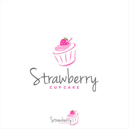 strawberry cup cake logo bakery badge template. organic bread shop vector and label design inspiration