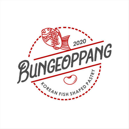 Bungeoppang logo round label traditional food fish shaped cake pastry cuisine stamp sticker design idea Stock Illustratie