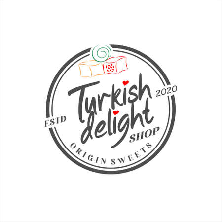 turkish delight logo simple typography traditional yummy sweet candy vector icon label design inspiration