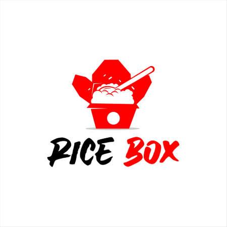 rice box logo stamp food label simple pack meal modern fun flat color design template idea Illustration