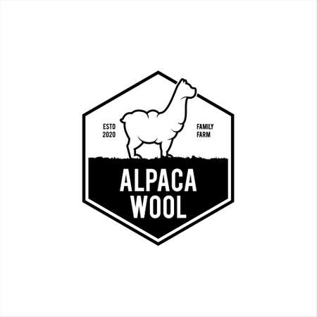 alpaca wool logo simple badge emblem industry vector stamp design template inspiration