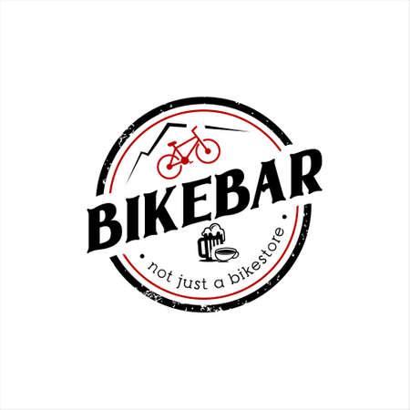 simple round emblem bicycle community bar or restaurant logo design template Ilustracja
