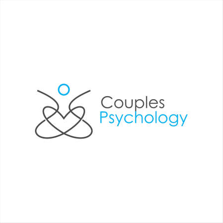 simple line couples therapy logo psychology vector icon education design template inspiration