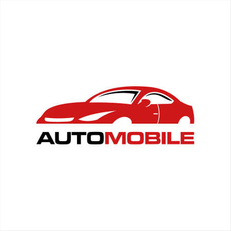 modern sport car logo illustration with red color. auto service vector template