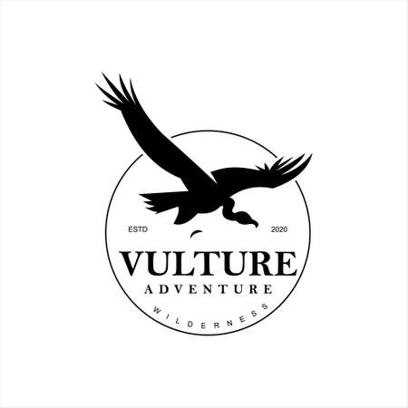 vulture logo animal vector flying bird icon or design element template