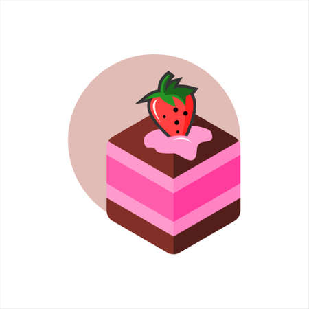 cake vector illustration sweet dessert bakery and pastry design element template  イラスト・ベクター素材