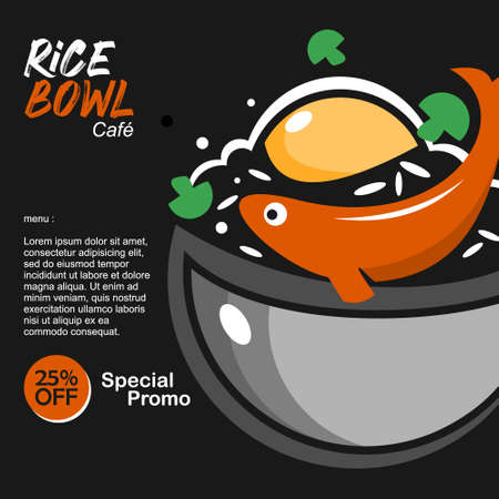 rice bowl poster dish menu banner for street food culinary graphic design template