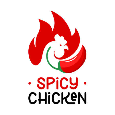 chicken logo bbq vector grill meat food and beverage label template design idea  イラスト・ベクター素材