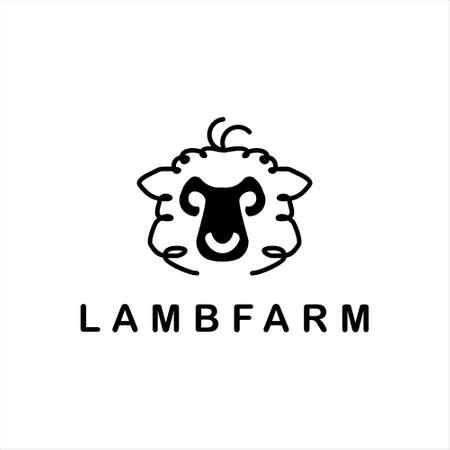 lamb logo simple sheep head vector farm cattle and wool produce design template idea  イラスト・ベクター素材