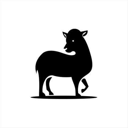 lamb logo simple sheep silhouette vector farm cattle and animal design template idea
