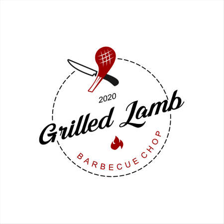 bbq logo simple lamb ribs grill badge vector food and drink label design template idea