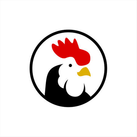 rooster head logo cartoon chicken vector animal farm and poultry meat industry template label idea