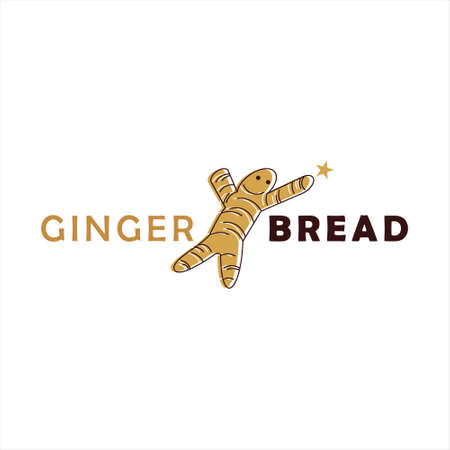 gingerbread logo design pastry and bakery vector food party holidays template idea  イラスト・ベクター素材