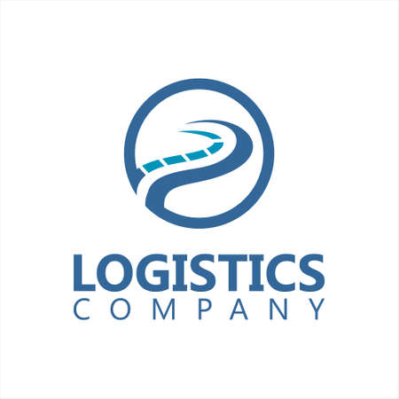 logistics logo simple road vector in circle frame corporate business design template idea