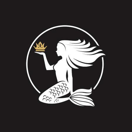 mermaid logo design legend figure vector simple nature marine mascot business template idea