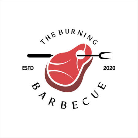 bbq logo simple barbecue vector graphic label design or roasted food and beverage poster template idea