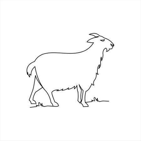 goat line draw coloring animal vector. farm domestic mammal illustration design template