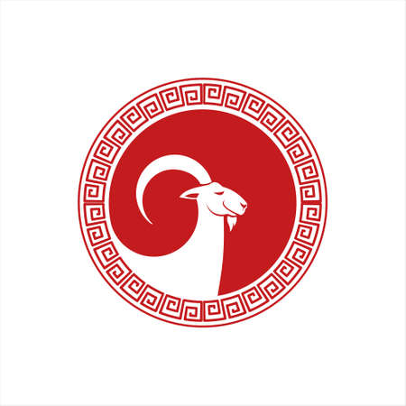 goat vector animal logo design template. Year of the Goat Chinese Zodiac  イラスト・ベクター素材