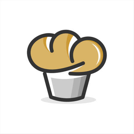 Muffin cake vector on white  イラスト・ベクター素材