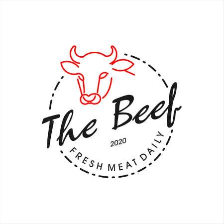Simple butchery beef logo badge template.