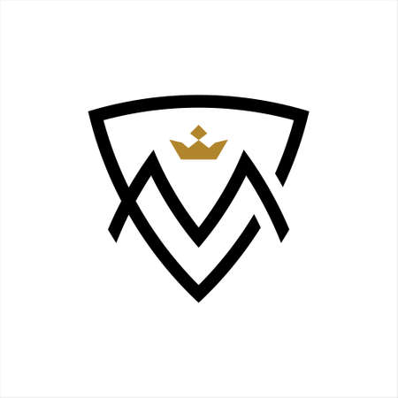 simple m initial logo shield vector. first letter monogram template business idea