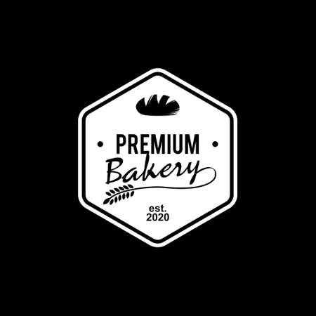 simple premium bakery logo badge template. organic bread shop vector and label design inspiration