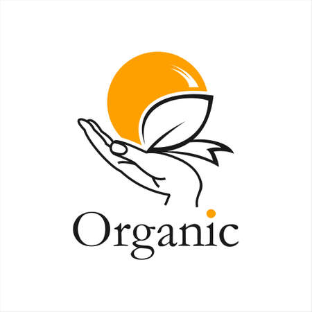 organic growth care nature logo design. leaf and rise in hand vector template idea
