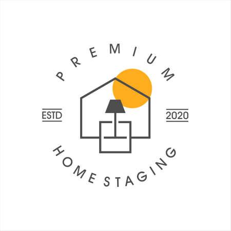 home staging logo design line art. property care vector template real estate business idea