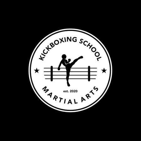 martial art school logo vintage badge. kickboxing emblem stamp vector sport template idea  イラスト・ベクター素材