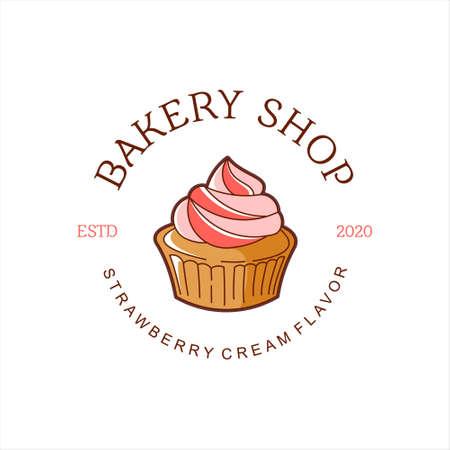 cartoon muffin bakery logo badge template. organic bread shop vector and label design inspiration