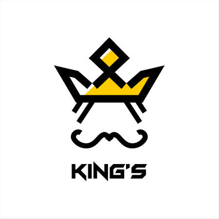 Crown Logo abstract design vector template. Geometric black king face authority icon idea 일러스트