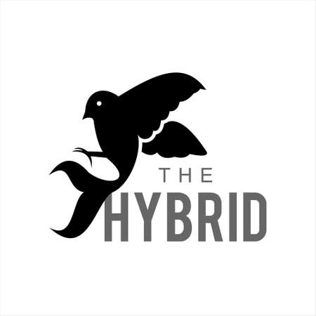 bird with fish tail hybrid vector. animal logo design graphic template for inspiration idea