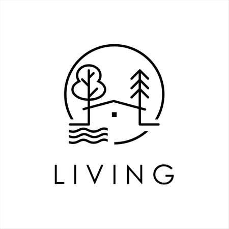 property logo design nature line art simple real estate icon template ideas