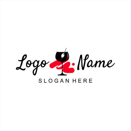 bar logo design simple template idea. wineglass vector for party icon and holidays art inspiration