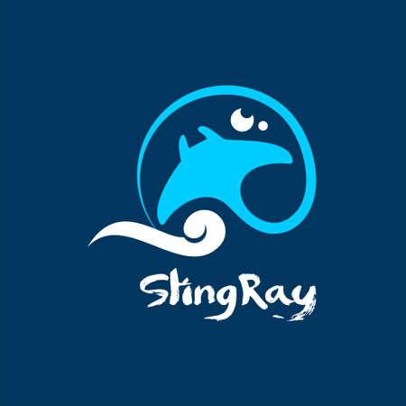 stingray logo design simple animal vector flat color graphic marine life template idea