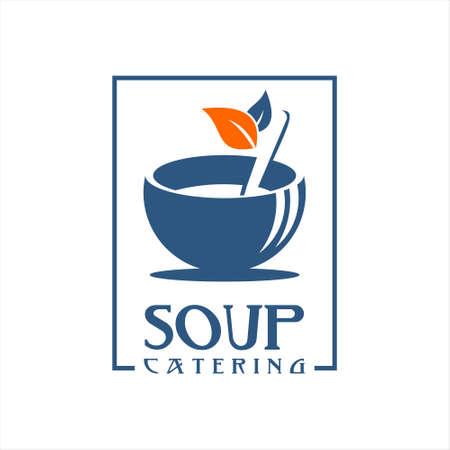 Chicken soup logo design flat color. Asian food culinary recipe menu vector template inspiration  イラスト・ベクター素材