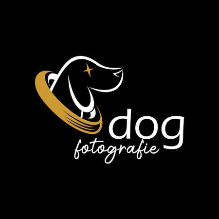 Dog photography logo design template idea. animal and pets lover creative graphic inspiration