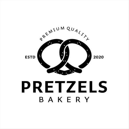 pretzels logo design bakery vector template. pastry and cookies industry icon template ideas  イラスト・ベクター素材