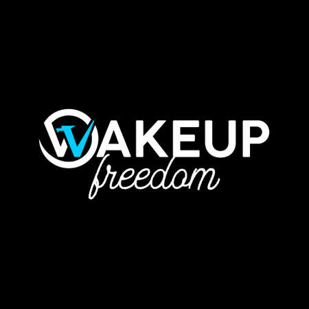 simple text art wake up freedom. quote lettering and typography design template inspiration  イラスト・ベクター素材