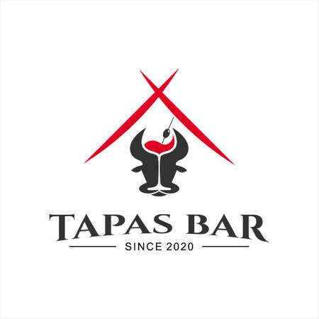Spanish bar tapas food logo design template cuisine and gourmet vector inspiration