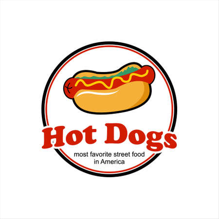 Hot dogs bun logo design template. American street food recipes label or stamp inspiration  イラスト・ベクター素材